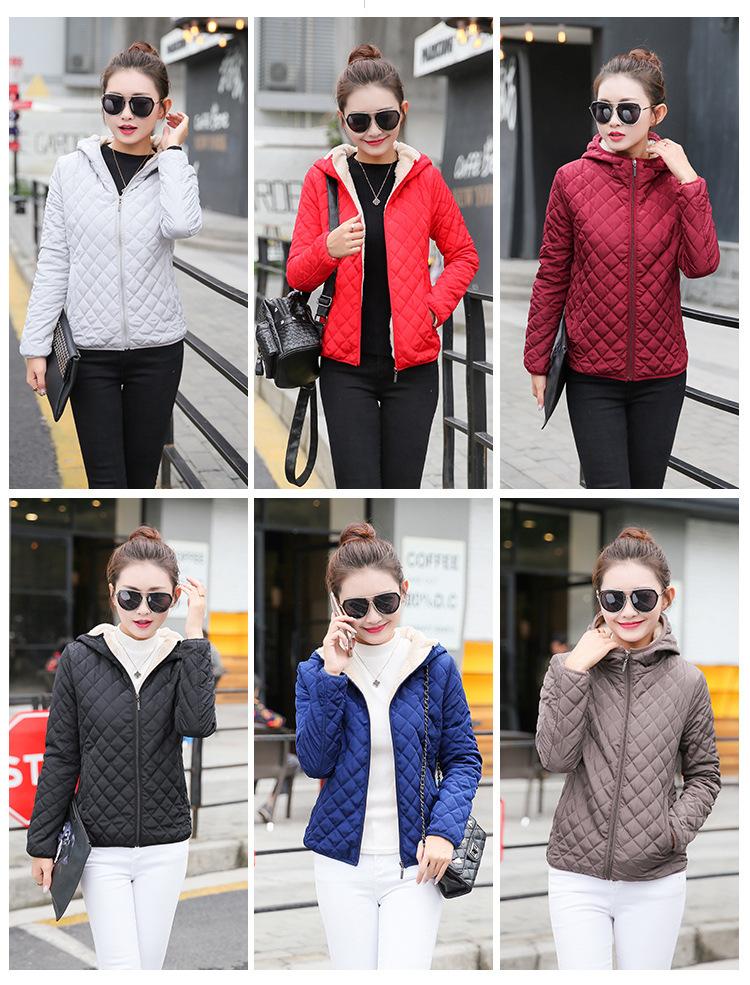Autumn 19 New Parkas basic jackets Female Women Winter plus velvet lamb hooded Coats Cotton Winter Jacket Womens Outwear coat 6