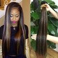 Cor de destaque Extensões de Cabelo Humano Brasileiro virgem do cabelo em linha reta para o cabelo Beleza Quente 3 pcs muito Colorido Estilo de Cabelo