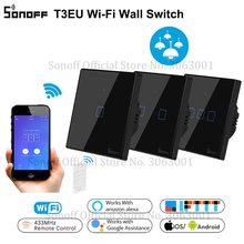 Sonoff t3eu tx 스마트 와이파이 벽 터치 스위치 블랙 테두리 스마트 홈 1/2/3 gang 433 rf/음성/app 제어 알렉사와 함께 작동