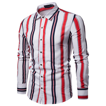 MarKyi 2019 new color striped print men silk shirts long sleeve good quality designer mens shirt