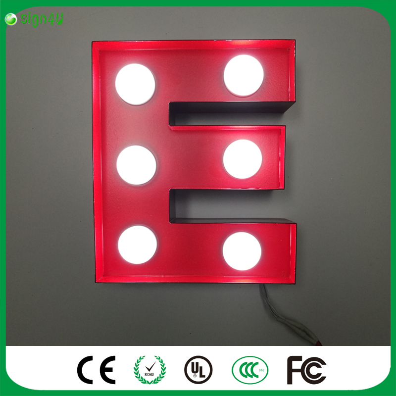 """""""E"""" Metal Letters Light LED Alphabet Marquee Sign LIGHT UP"""