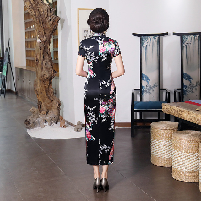 Black #Cheongsam Traditional #Chinese Style #Women's Long #Dress Lady Slim Rayon #Qipao #fashion #boygrl 3