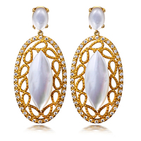 Long Vintage Earring mother of pearl Drop Earrings for women setting AAA CZ stone fashion party jewelry Free shipment