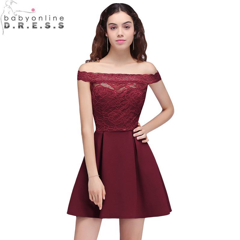 2019 Cheap Burgundy Lace Off the Shoulder   Cocktail     Dresses   Cut out Short Prom   Dresses   Party   Dress   Cute Women Gowns