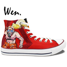 Wen Design Custom Hand Painted Sneakers Game Borderlands High Top Men Women's High Top Canvas Sneakers for Gifts