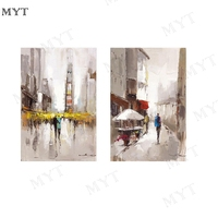 MYT Free Shipping No Framed Picture Oil Painting&Calligraphy Of Lovely Lover Warking On Street Modern Picture Canvas Home Decor