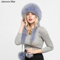2019 New Style Real Rex Rabbit & Fox Fur Hats Women Fashion Winter Warm Fur Caps Top Quality S7145