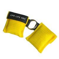 Оптовая продажа 500 шт./лот КПП реаниматолог маска КПП ключ жизни аварийного лицо щит свободное дыхание барьер с односторонним клапан желтый