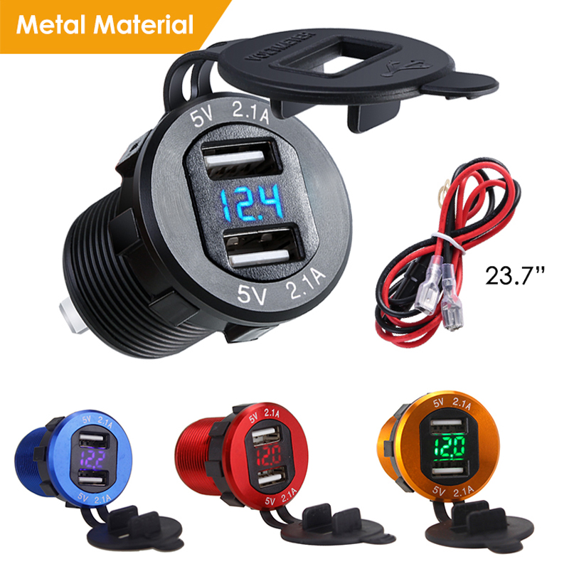 Dual USB Charger Socket Waterproof Power Outlet 2.1A With Voltmeter Wire In-line 10A Fuse For 12-24V Car Boat Marine Motorcycle