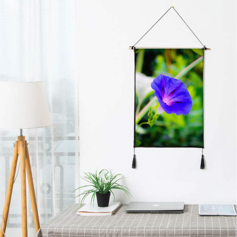 Flowers Scroll Painting Blue Glory Plant Artistic Artwork Wall Hanging Picture Photo Poster For Rooms Hotel Store Dorm Decor B40(China)