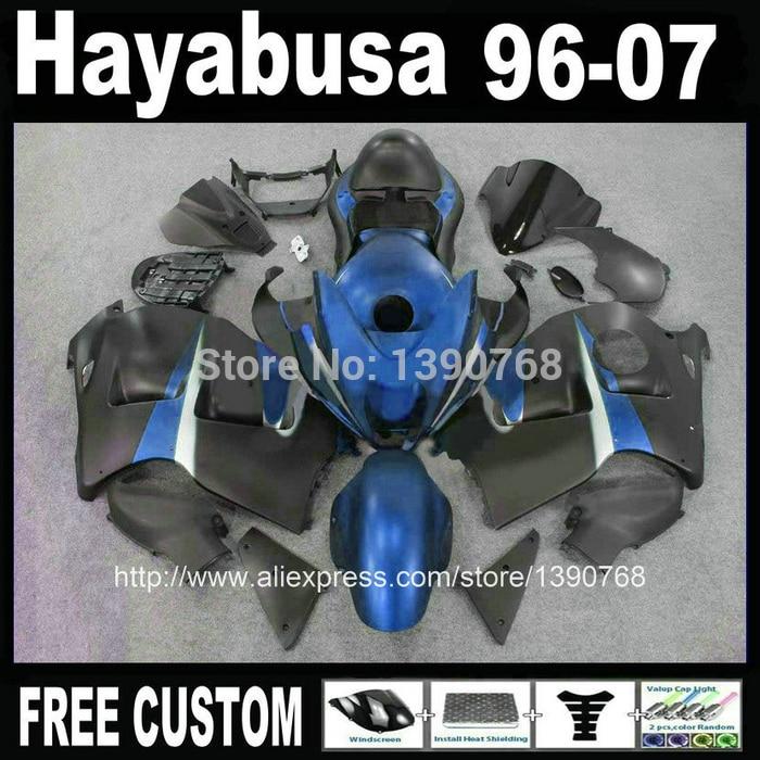 Bodywork  for SUZUKI hayabusa fairings GSXR1300 1996-2007 blue black motorcycle fairing kit + tank  99-07 CQ65 bodywork for suzuki hayabusa fairings gsxr1300 1996 2007 blue black motorcycle fairing kit tank 99 07 cq65