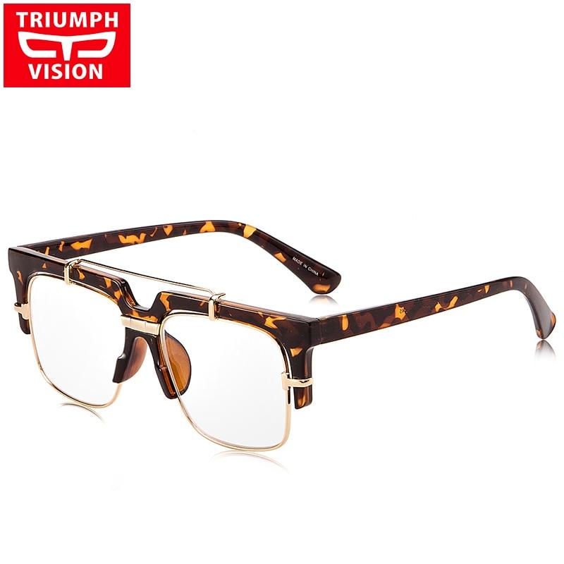 TRIUMPH VISION Քառակուսի բաժակներ Տղամարդկանց պարզ ոսպնյակներով ակնոցների շրջանակներ Թափանցիկ տղամարդկային սպեկտրի շրջանակ Նորաձևության օդաչու Desigh Eyewear