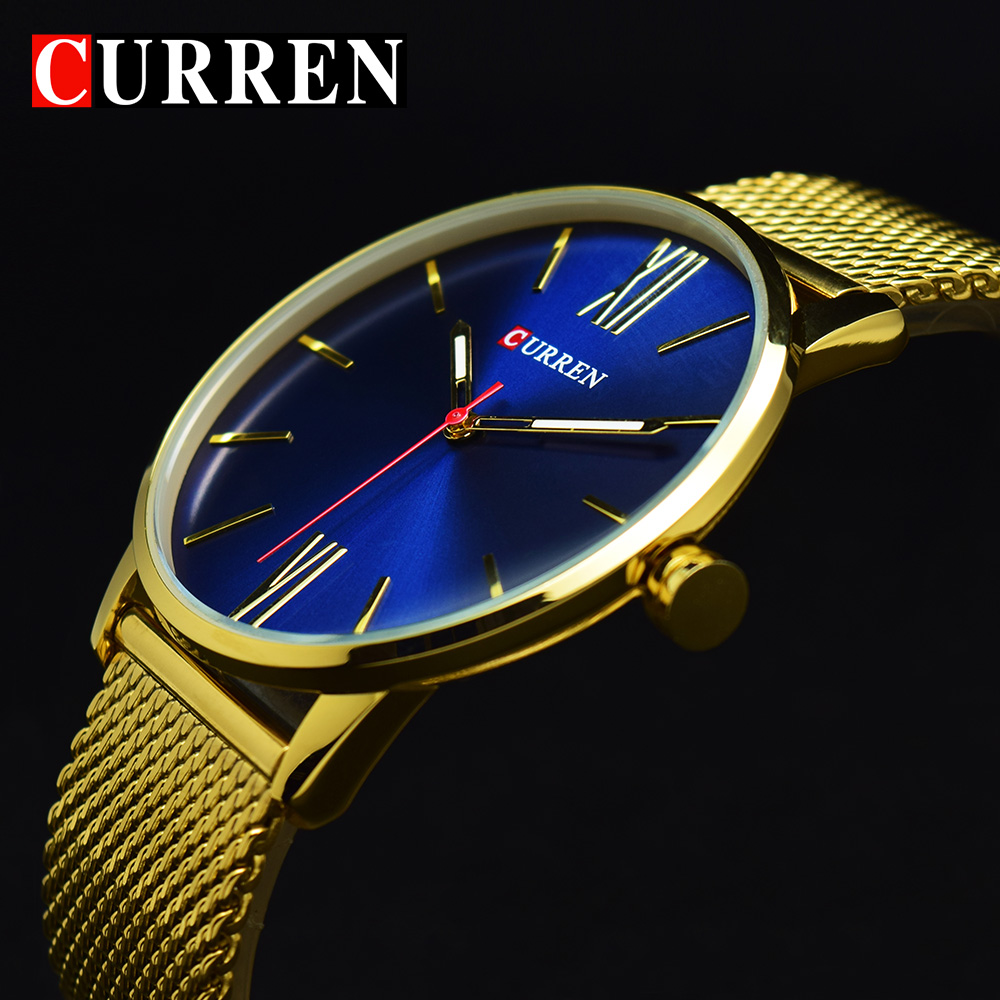 2017 CURREN Gold Quartz Man Watch Men Watches Stainless Steel Golden Watches Male Wristwatch Clock Men Hodinky Relogio Masculino цена