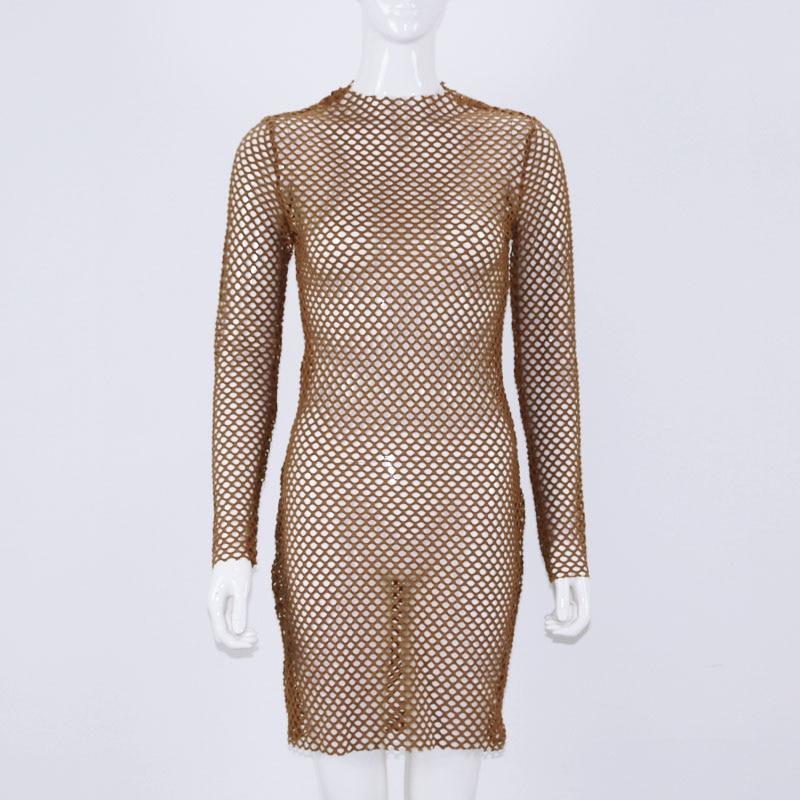 OMSJ 2018 New Women Sexy Fishnet Mesh Long Sleeve Knitted Crochet Dress Hollow Out Beach Tunics Swimsuit Dress See-through Wrap 4