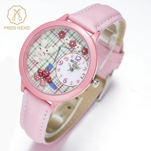 Miss Keke Fashion Kids 3D Clay Rabbit Cartoon-Watch Girls Students Quartz Watch Pink Leather Casual Wristwatch 848 montre enfant