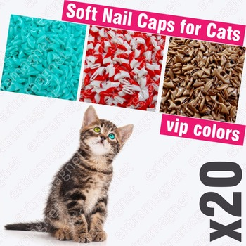 20pcs Soft Nail Caps for Cats + 1x Adhesive Glue + 1x Applicator /* XS, S, M, L, cover, cat, paw, claw, zqy */