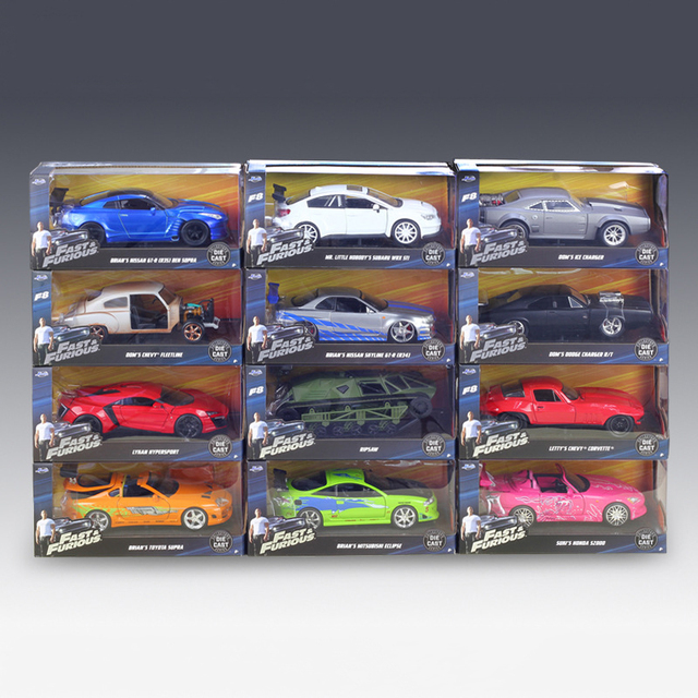 1:24 Model Car Skyline GT-R GTR R34 Metal Vehicle Play Collectible Models Sport Cars toys For Gift FAST AND FURIOUS 8 F8
