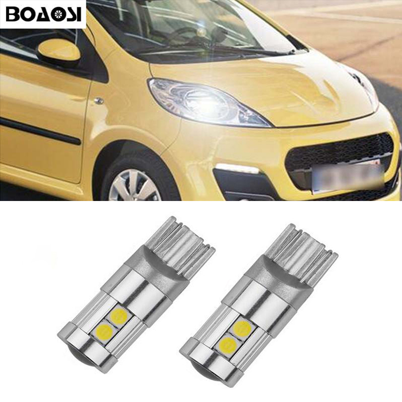 BOAOSI 2x T10 W5W 3030smd <font><b>LED</b></font> Clearance Light with Projector Lens for <font><b>Peugeot</b></font> 307 206 301 207 2008 508 301 3008 406 507 <font><b>208</b></font> image