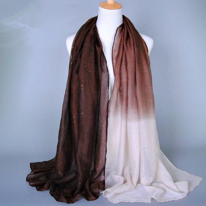 2019 Ombre Glitter Print Shade 18 színes Foulard Coton Doux - Ruházati kiegészítők