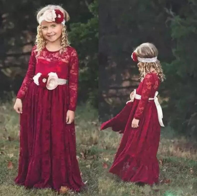 Bohemian Style Red Long Sleeve Flower Girl Dresses for Wedding Jewel Neck Floor Length Little Girls Party Dresses With Sash elegant jewel neck long sleeve faux twinset design blouse for women