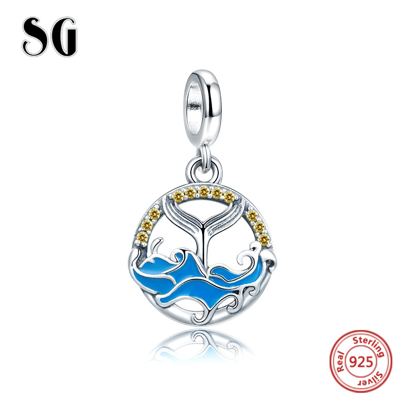 SG 925 sterling silver jewelry Enamel Tail of Whale waves fish pandora original charms bead fit pandora bracelet for girl gifts цены