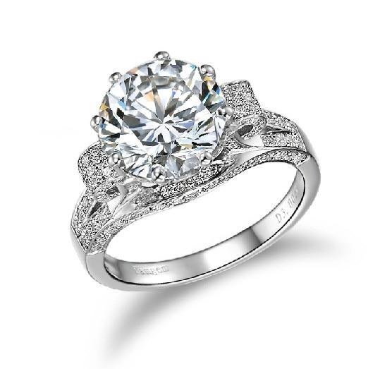 3 carat solid white gold round brilliant wonderful diamond women engagement ring best propose pure gold - 3 Carat Wedding Ring