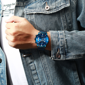 Image 5 - Relogio masculino crrju 새로운 최고 브랜드 럭셔리 시계 남성 패션 캐주얼 쿼츠 시계 남성 스테인레스 스틸 블루 방수 시계