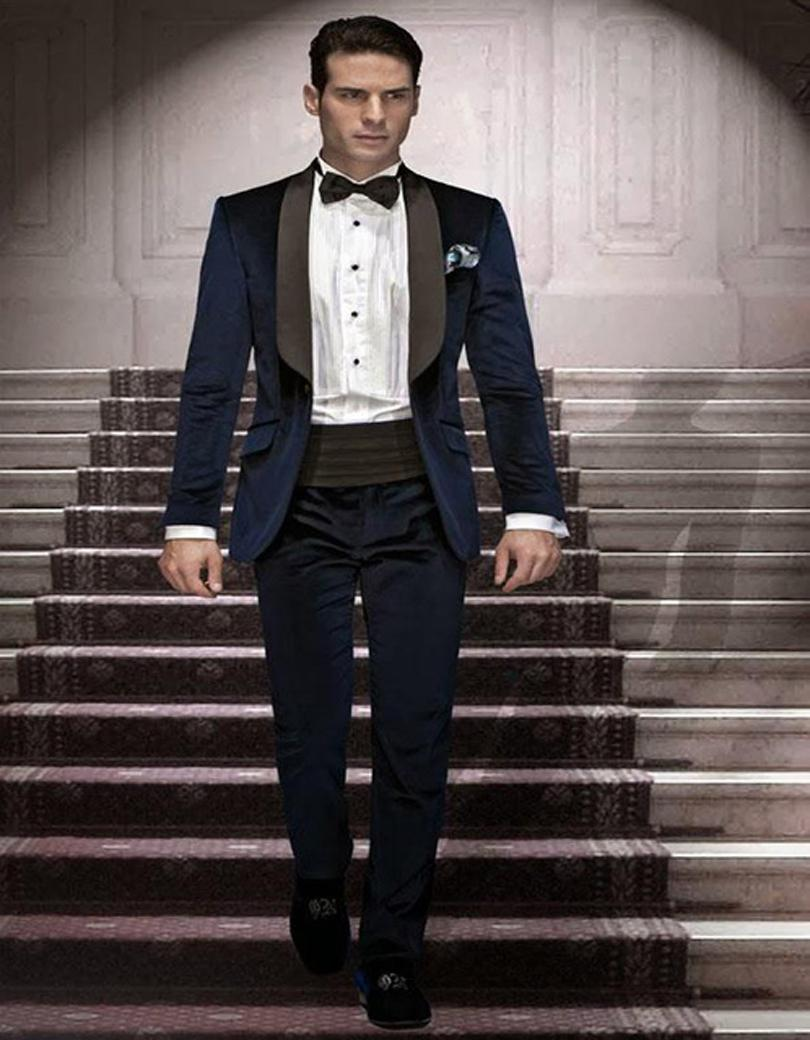 Maatwerk Donkerblauw Fluwelen Bruidegom Tuxedos Bruidsjonkers Blazer Mens Wedding Suits Formele Jurk (Jas + Broek + Bow Tie + Gordel) GEEN: 005