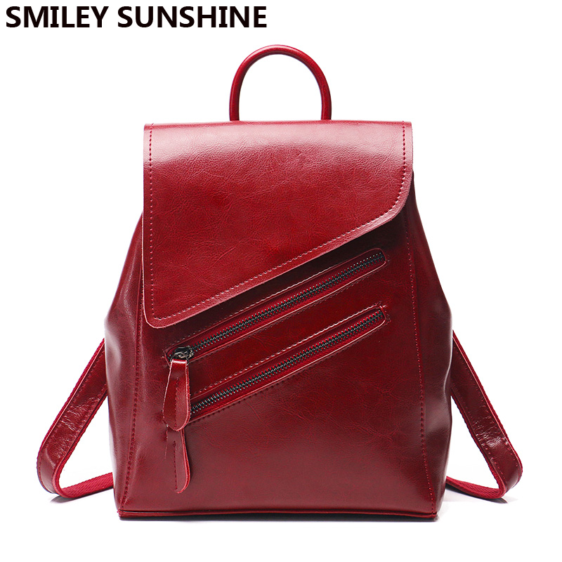 SMILEY SUNSHINE women backpack female genuine leather backpacks for girls teenagers schoolbag small backpack ladies shoulder bag