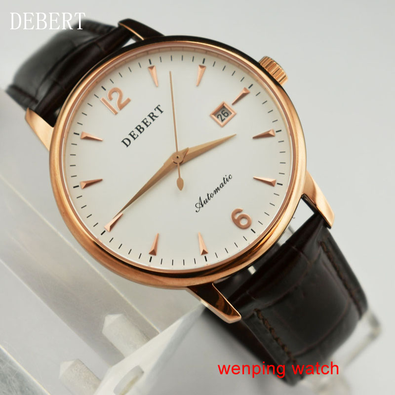 DEBERT 40mm Fashion Business Gold 316L Polished Stainless Steel housing white Dial Automatic  Movement Men's Watch E2437