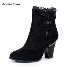 Cuero genuino de la primavera y el otoño femeninos botas de tacón alto botas netos zapatos de encaje zapatos de las mujeres