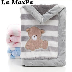 Cartoon Animal Double Layer Baby Blanket Newborn Warm Cotton Baby Blankets For Stroller Cover Swaddle Wrap Baby Blanket Winter