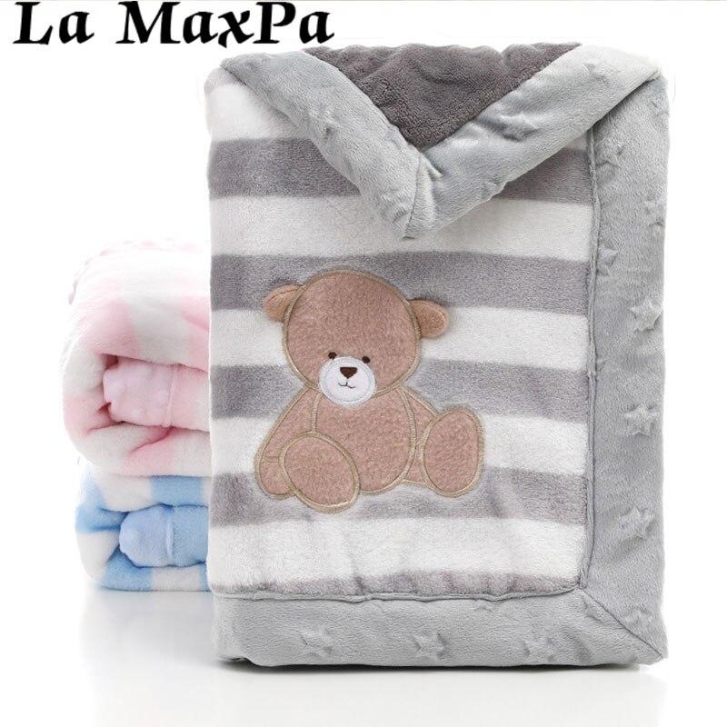 Cartoon Dier Dubbele Laag Baby Deken Pasgeboren Warme Katoenen Baby Dekens Voor Wandelwagen Cover Inbakeren Wrap Baby Deken Winter