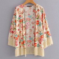 Women Kimono Cardigan Sweet Floral Printed Blouse And Tops Hisper Tassel Cuff And Hem Open Stitch Bohemian Casual Shirt Outwear