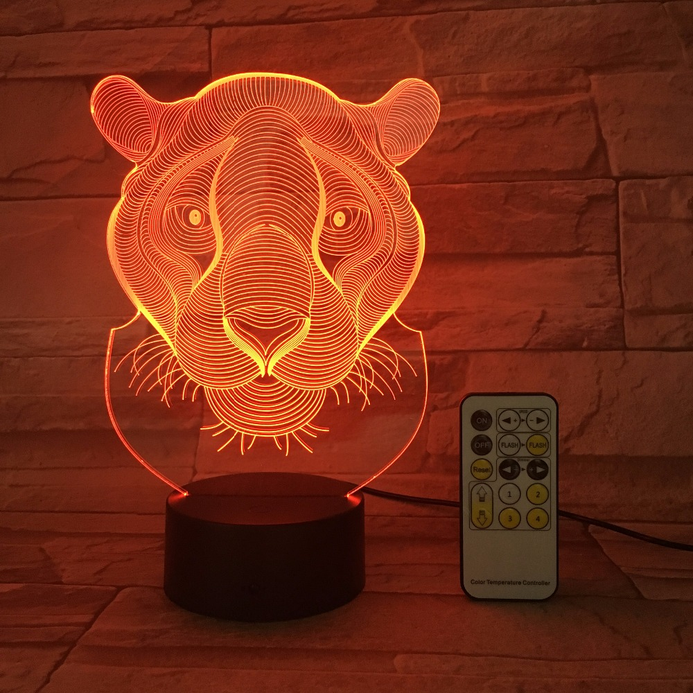 Lion Tiger RC Remote Touch Control 3D Decor USB Lamp Kids Toy Gift Bedside Luminarias 7 Colors Flash Change LED Night Light