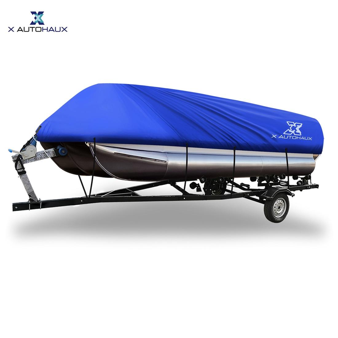 X Autohaux Grey Blue 17-20ft 21-24ft 300D 600/740 X 400cm Boat Cover Waterproof Trailerable for Square Shape BoatsX Autohaux Grey Blue 17-20ft 21-24ft 300D 600/740 X 400cm Boat Cover Waterproof Trailerable for Square Shape Boats