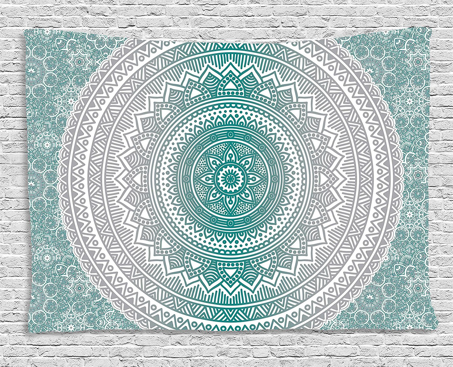 Grey and Teal Tapestry, Mandala Ombre Design Sacred Space Geometric Center Point Boho Meditation Art,Wall Hanging Tapestry