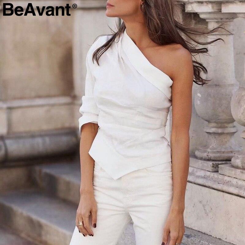 BeAvant Vintage one shoulder women blouse shirt White asymmetrical casual summer ladies tops Sexy fashion streetwear blouses top