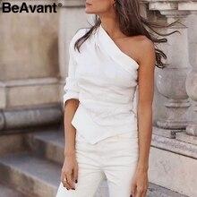 deb09a4f6172a5 BeAvant Vintage schulter frauen bluse hemd Weiß asymmetrische casual sommer damen  tops Sexy mode streetwear blusen