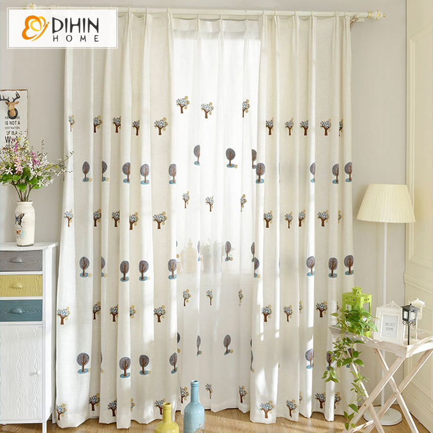 Cartoon Trees Curtains For Bedroom Cotton Linen Towel