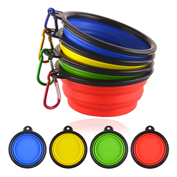New Dog accessories silicone dog bowl candy color outdoor travel portable puppy doogie food container feeder dish on sale 2