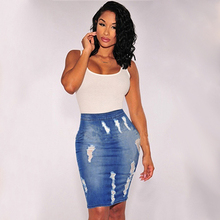New Arrival Women Fashion Summer Sexy Bodycon High Waist Holes Pencil Midi Jeans Skirt