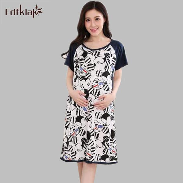 Moda camisola de algodão sleepwear fêmea das mulheres do vestido do verão mulheres sleepshirt mulher grávida roupas mama-alimentação Q1003