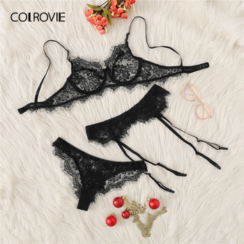 COLROVIE Intimates Black Eyelash Lace Garter Transparent Lingerie Set