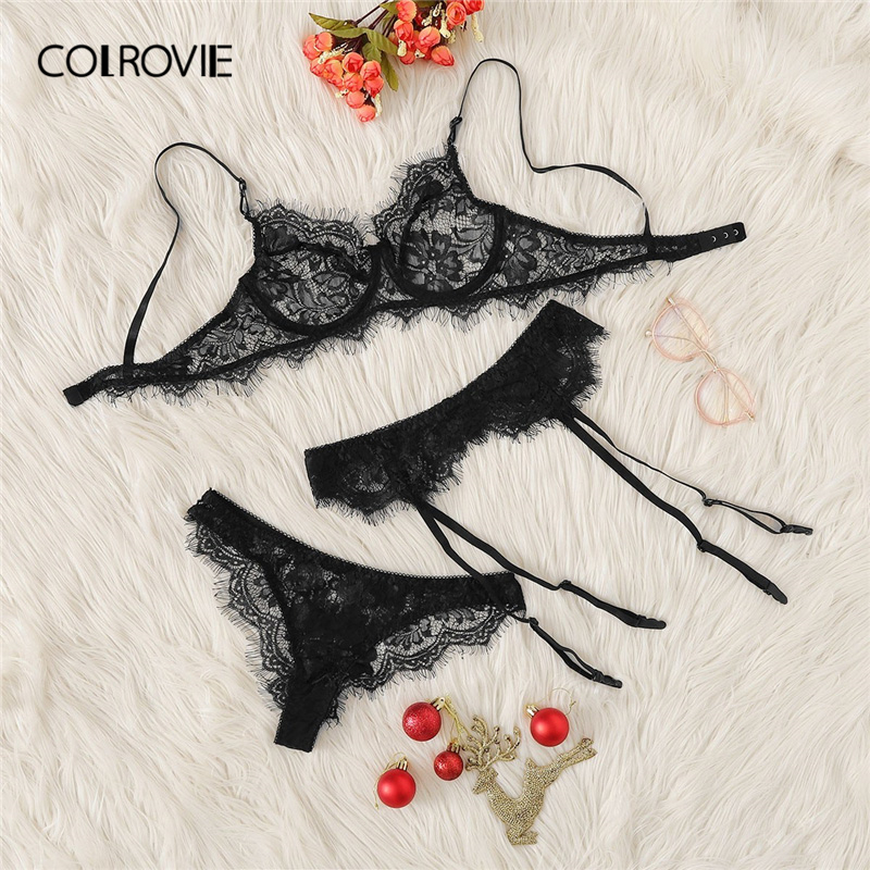 COLROVIE Black Eyelash Lace Garter Transparent Lingerie   Set   2019 Wireless Underwear   Bra     Set   Thongs And V-Strings Women Intimates