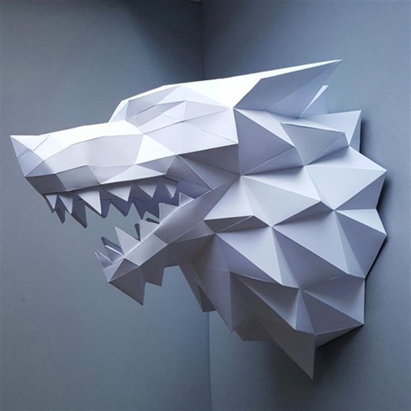 6 Colour Wolf Head Paper 3D DIY Material Manual Creative Ornament Party Parlour Show Props Lovely Tide Hand Made Collection Gift