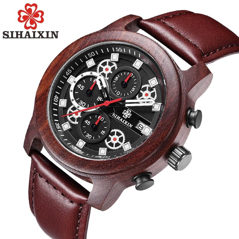 SIHAIXIN orologo Uomo cuero relojes de madera para hombre marca superior de lujo moda impermeable ejército militar deporte fecha hombre reloj # A regalo