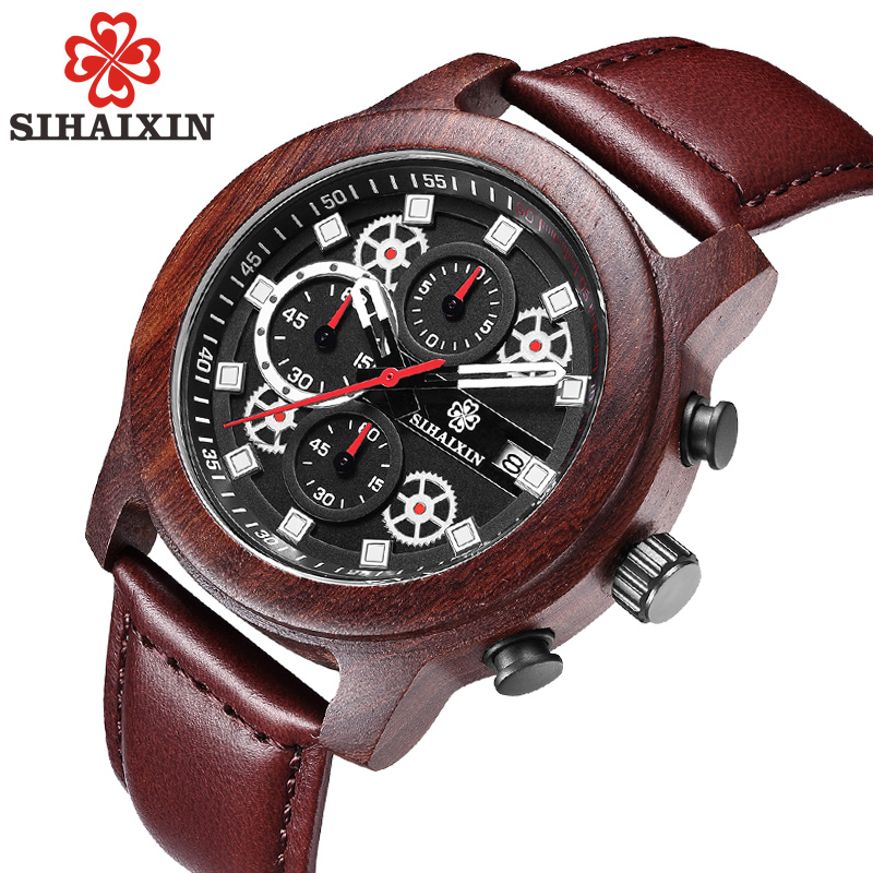 Sihaixin кожа Для мужчин Водонепроницаемый хронограф Для мужчин S спортивные часы лучший бренд класса люкс кварц мужской часы минуту Дисплей Др...