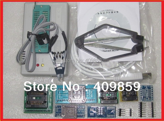 Free Shipping! Russian Manual  V6.5 MiniPro TL866CS USB Universal Bios Programmer +9items+IC Clamp SOIC8