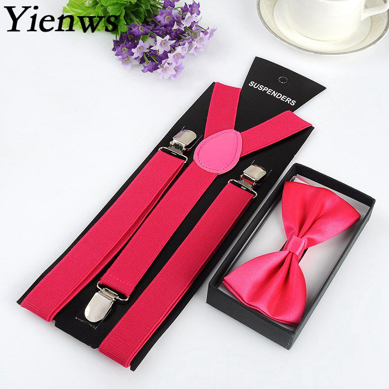 Yienws  Wholesale 50 Piece Bow Tie Suspenders Sets For Women Men Red Pink Burgundy Brace Suspensorio Unisex YiA037